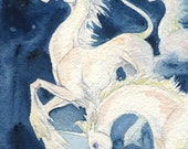 Unicorns Running in Stars Portrait ACEO Giclee Print