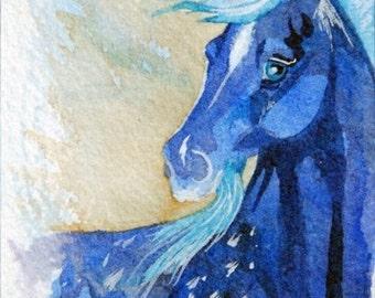 Blue Unicorn ACEO Giclee Print