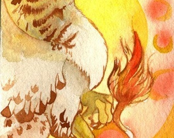 Golden Gryphon Mage ACEO Giclee Print