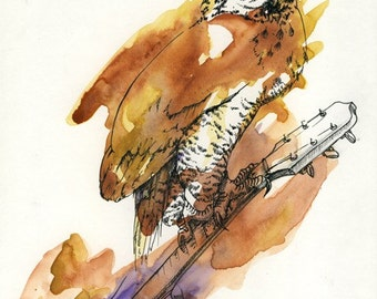 Owl and Guitar - 8.5x11 Archival Giclee Print