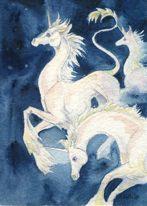 Unicorns Running in Stars - watercolor unicorns space art miniature illustration painting white and blue