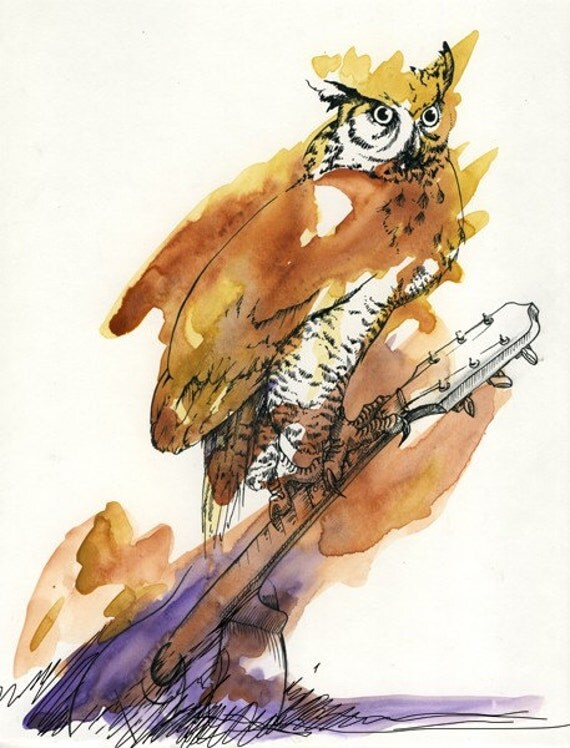 owl playing the guitar - photo #18