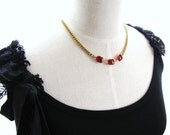 Vintage Ruby Red Rhinestone Special Occasion Statement Necklace - The Therese