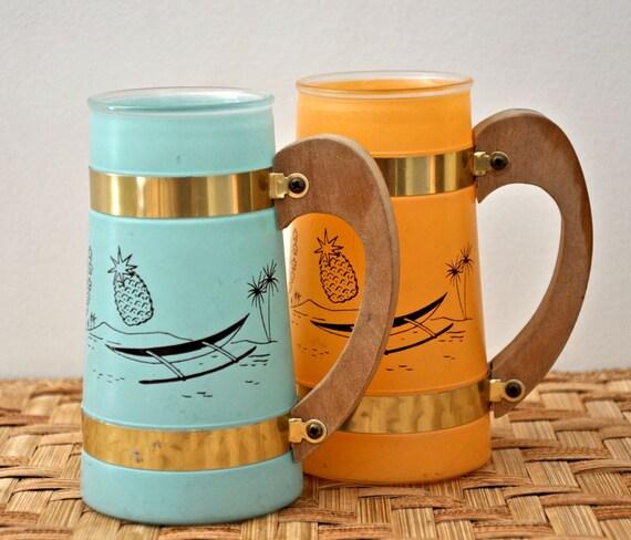 Vintage Tiki Mugs - Tropical Siestaware Cocktail Glasses - Turquoise and Mango