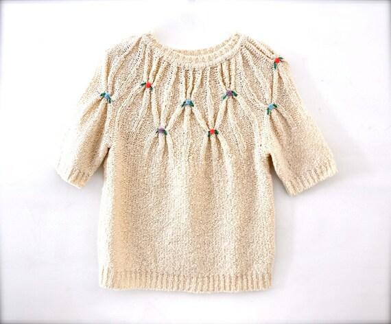 Vintage spring flower sweater - white short sleeve medium