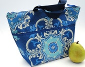 Lunch Bag - Insulated Royal Blue Turquoise and Navy Large - LAST ONE!