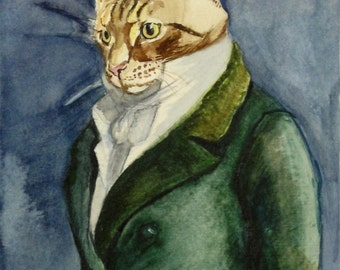 Custom Portrait - Watercolor -Pet with Costume or Theme