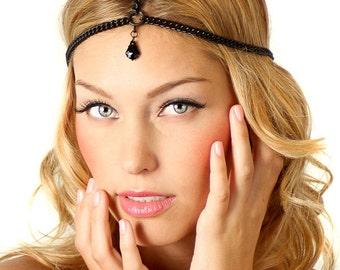 Black Swarovski Crystal Charm Greek Chain Headband Headpiece