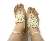 St. Patricks Day  Cream ivory Barefoot Sandals-Wedding Summer,Hand Crochet,Victorian, Sexy-READY TO SHIP