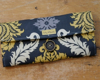 Fabric Wallet Grey and Yellow Damask with Zipper Pocket