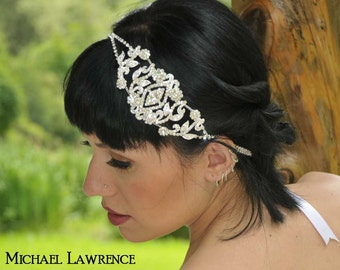 Angelina - Rhinestone Medallion Ribbon Headband