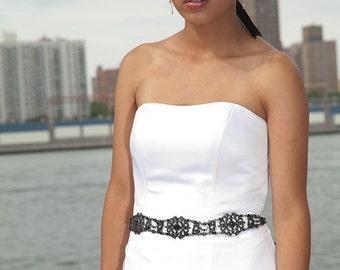 Black Sash - Bridal Belt - Bridal Sash - Black Belt - Wedding Sash - Wedding Belt - Prom Belt - Prom Sash - Crystal Sash - MICHELLE