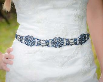 Cobalt Sash - Bridal Belt - Bridal Sash - Cobalt Belt - Wedding Sash - Wedding Belt - Prom Belt - Prom Sash - Crystal Sash - MICHELLE
