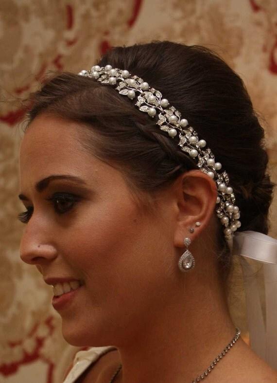 Jacqueline - Stunning Silver Rhinestone and Pearl Ribbon Headband