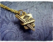 Gold Chinese Food Necklace - Antique Gold Pewter Chinese Food Charm on a Delicate Gold Plated Cable Chain or Charm Only