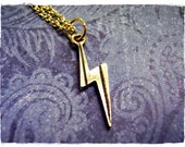 Tiny Gold Lightning Bolt Necklace - Antique Gold Pewter Lightning Bolt Charm on a Delicate Gold Plated Cable Chain or Charm Only
