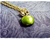 Green Apple Necklace - Green Enameled Antique Gold Pewter Green Apple Charm on a Delicate Gold Plated Cable Chain or Charm Only