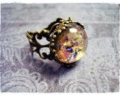 Round Amethyst Opal Glass Cabochon Ring - Ornate Antique Brass Filigree Band