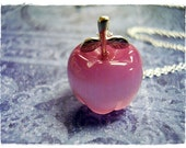 Pink Apple Necklace - Fiber Optic Pink Apple Charm on a Delicate 18 Inch Sterling Silver Cable Chain
