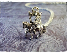 Silver Knight on Horseback Necklace - Silver Pewter Knight on Horseback Charm on a Delicate 18 Inch Silver Plated Cable Chain