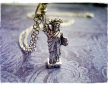 Silver Statue of Liberty Necklace - Silver Pewter Statue of Liberty Charm on a Delicate 18 Inch Silver Plated Cable Chain