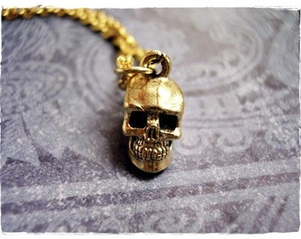 Gold Human Skull Necklace - Antique Gold Pewter Human Skull Charm on a Delicate Gold Plated Cable Chain or Charm Only