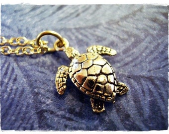 Tiny Gold Sea Turtle Necklace - Antique Gold Pewter Sea Turtle Charm on a Delicate Gold Plated Cable Chain or Charm Only