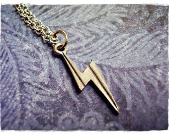 Tiny Silver Lightning Bolt Necklace - Antique Pewter Lightning Bolt Charm on a Delicate Silver Plated Cable Chain or Charm Only