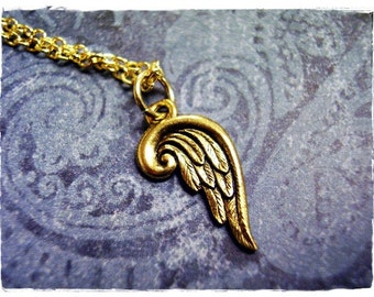 Gold Angel Wing Necklace - Antique Gold Pewter Angel Wing Charm on a Delicate Gold Plated Cable Chain or Charm Only