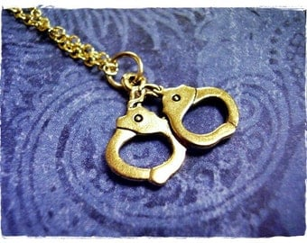 Gold Handcuffs Necklace - Antique Gold Pewter Handcuffs Charm on a Delicate Gold Plated Cable Chain or Charm Only