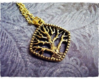 Gold Diamond Tree Necklace - Antique Gold Pewter Diamond Tree Charm on a Delicate Gold Plated Cable Chain or Charm Only