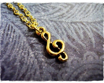 Tiny Gold Treble Clef Necklace - Antique Gold Pewter Treble Clef Charm on a Delicate Gold Plated Cable Chain or Charm Only