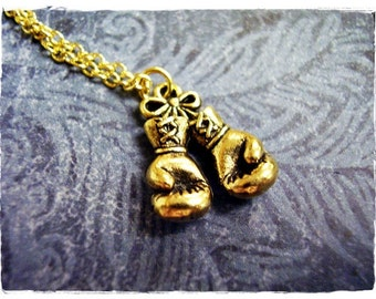 Gold Boxing Gloves Necklace - Antique Gold Pewter Boxing Gloves Charm on a Delicate 18 Inch Gold Plated Cable Chain