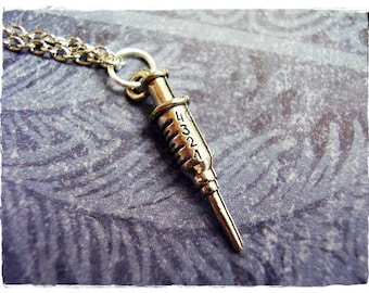 Silver Medical Syringe Necklace - Antique Pewter Syringe Charm on a Delicate Silver Plated Cable Chain or Charm Only