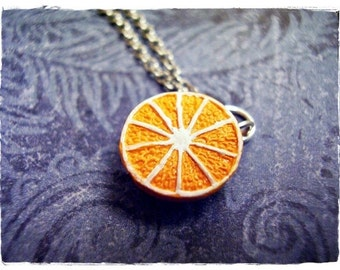 Orange Half Necklace - Orange Enameled Ceramic Orange Half Charm on a Delicate Silver Plated Cable Chain or Charm Only
