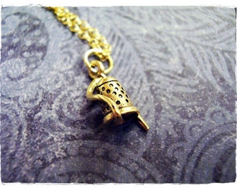 Gold Thimble and Needle Necklace - Antique Gold Pewter Thimble and Needle Charm on a Delicate Gold Plated Cable Chain or Charm Only
