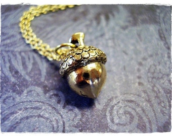 Gold Acorn Necklace - Antique Gold Pewter Acorn Charm on a Delicate 18 Inch Gold Plated Cable Chain