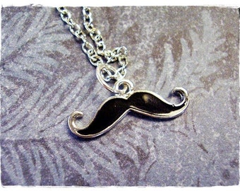 Black Mustache Necklace - Enameled Antique Pewter Black Mustache Charm on a Delicate Silver Plated Cable Chain or Charm Only