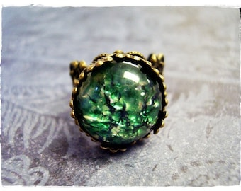 Round Green Opal Glass Ring - Green Opal Glass Cabochon on an Ornate Antique Brass Filigree Band
