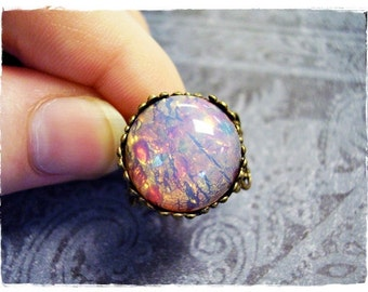 Round Fire Opal Glass Ring - Fire Opal Glass Cabochon on an Ornate Antique Brass Filigree Band