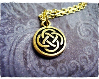 Gold Celtic Knot Necklace - Antique Gold Pewter Celtic Knot Charm on a Delicate Gold Plated Cable Chain or Charm Only