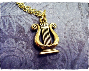 Gold Lyre Necklace - Antique Gold Pewter Lyre Charm on a Delicate Gold Plated Cable Chain or Charm Only