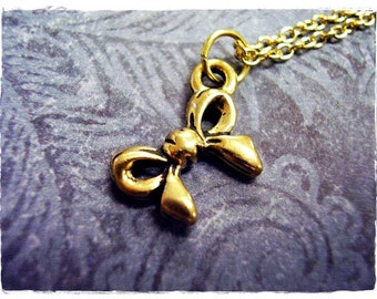 Tiny Gold Bow Necklace - Antique Gold Pewter Bow Charm on a Delicate Gold Plated Cable Chain or Charm Only