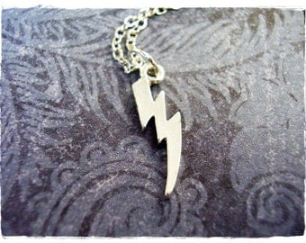 Tiny Thunderbolt Necklace - Silver Pewter Thunderbolt Charm on a Delicate Silver Plated Cable Chain or Charm Only