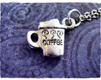 Silver Coffee Travel Mug Necklace - Silver Pewter Coffee Travel Mug Charm on a Delicate Silver Plated Cable Chain or Charm Only