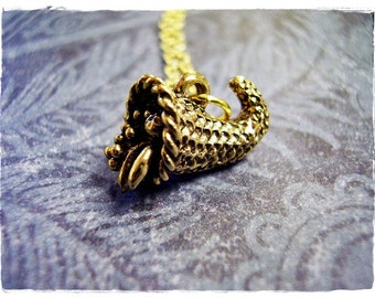 Gold Cornucopia Necklace - Antique Gold Pewter Cornucopia Charm on a Delicate Gold Plated Cable Chain or Charm Only