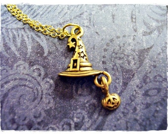 Gold Wizard Hat Necklace - Antique Gold Pewter Wizard Hat Charm on a Delicate Gold Plated Cable Chain or Charm Only
