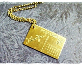 Gold I Love You Postcard Necklace - Raw Brass I Love You Postcard Charm on a Delicate Gold Plated Cable Chain or Charm Only