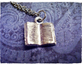 Silver Open Book Necklace - Silver Pewter Open Book Charm on a Delicate Silver Plated Cable Chain or Charm Only