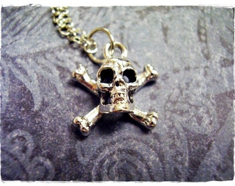 Silver Skull and Crossbones Necklace - Silver Pewter Skull and Crossbones Charm on a Delicate Silver Plated Cable Chain or Charm Only